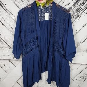Absolutely Famous Crocheted Cardi Navy Blu…